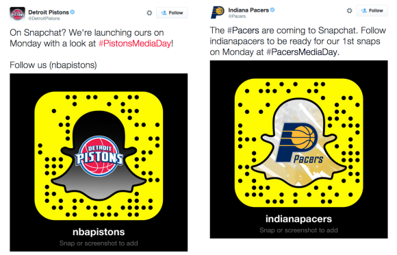 Pistons and Pacers on Snapchat