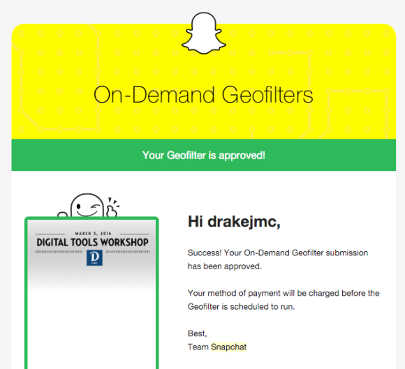 snapchat geofilter approved